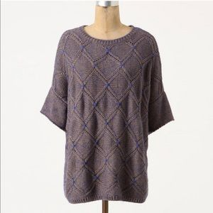 Anthropologie Moth 3/4 Sleeve Chunky Knit Sweater